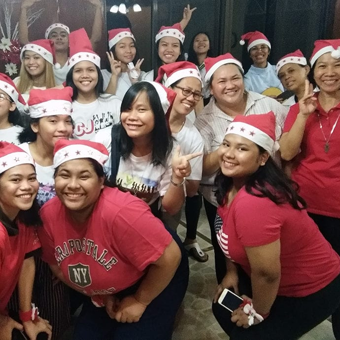 FCJ youth, scholars and sisters preparing for carolling
