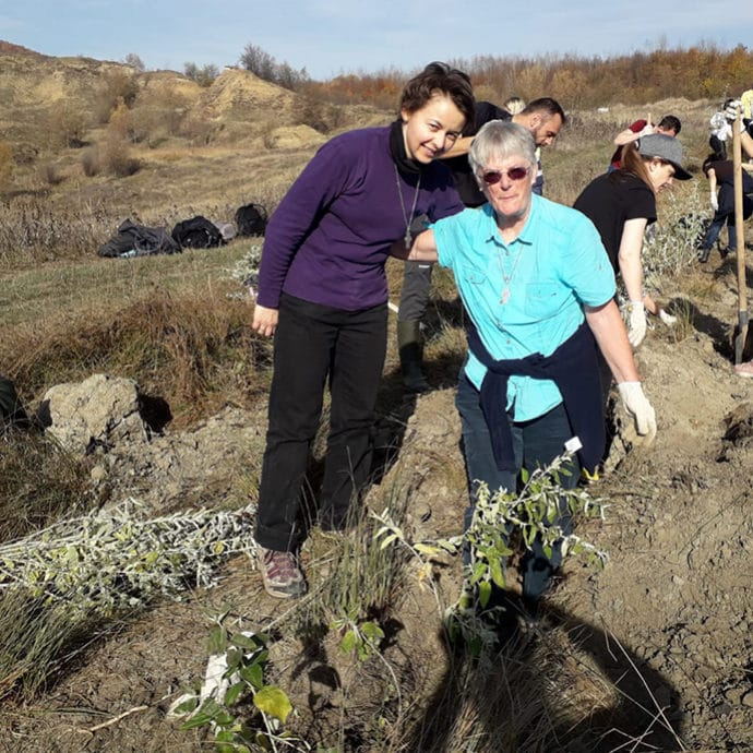 FCJ sisters planting trees in Romania