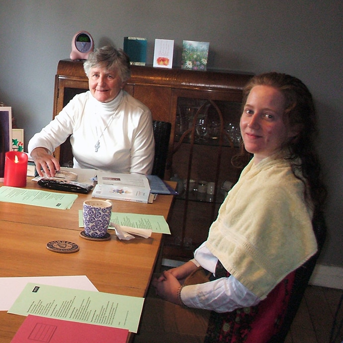 Sr Cecilia fcj Leading a reflection with some Vincentian Volunteers