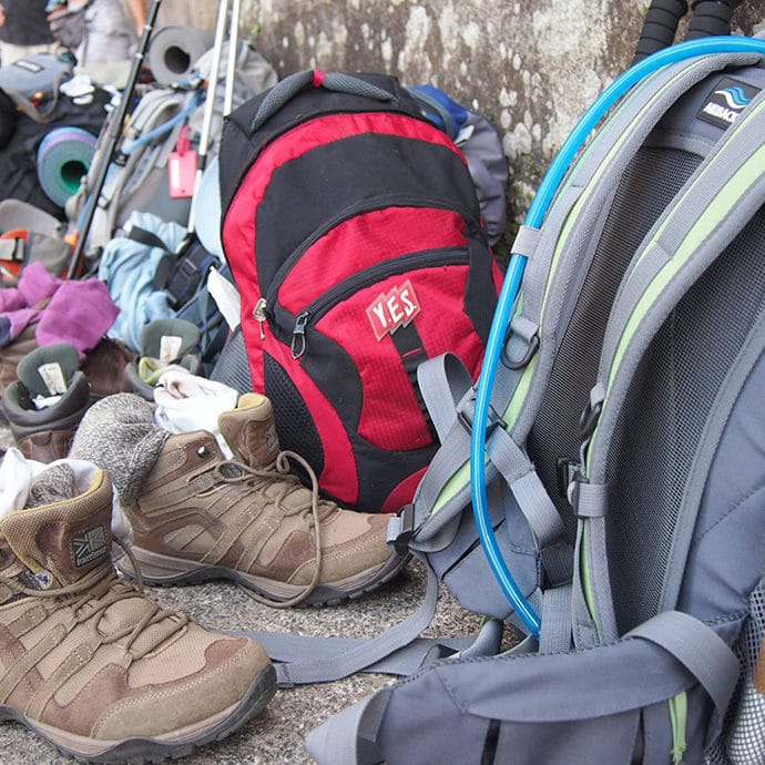 Backpacks in the Camino de Santiago