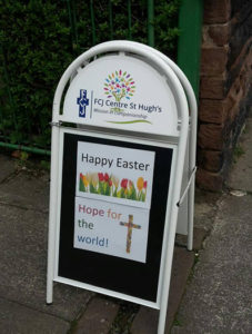 fcj centre st hugh's liverpool easter sign
