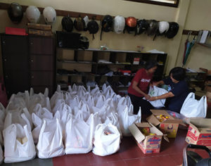 Parcels ready for distribution during COVID in Yogyakarta