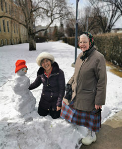 Agnes and Terry snowman during COVID